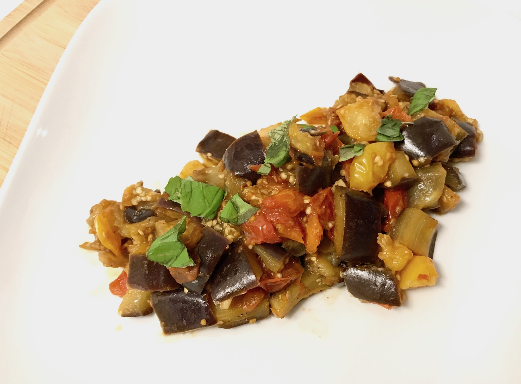 Eggplant with Sautéed Tomato and Garlic