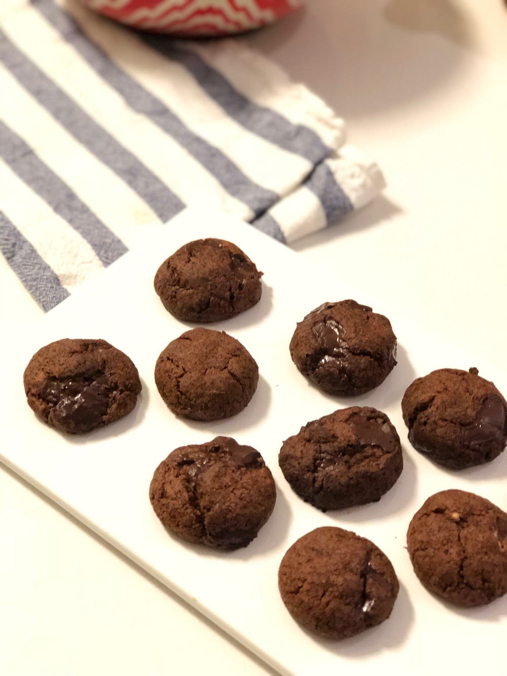 Gooey Vegan Double Chocolate Cookies