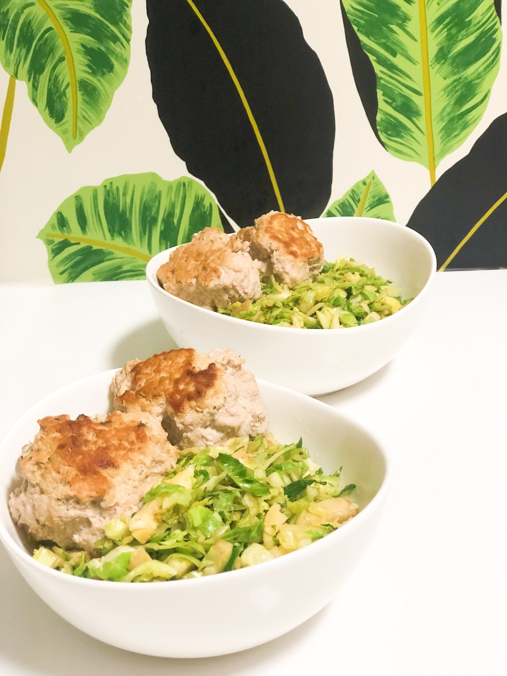 Turkey Meatballs and Brussels Sprouts Rice