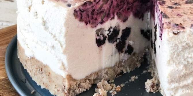 The Best Vegan Blueberry Cheesecake on a plate