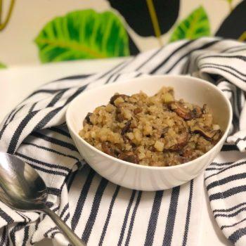 Cauliflower Mushroom Risotto {gluten free, dairy free, vegan) in a bowl