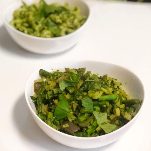 Bowl of veggies in nut free pesto