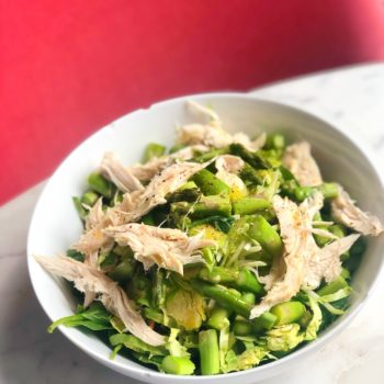 Simple Spring asparagus and chicken salad in a bowl