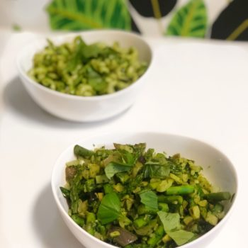 Bowl of veggies in nut free pesto