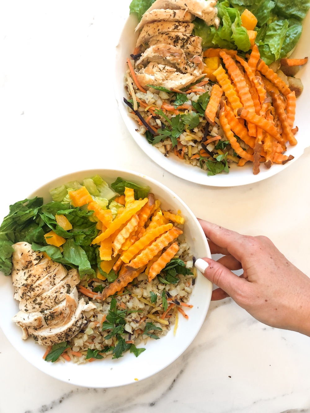 Easy Chicken and Vegetable Lunch Bowls