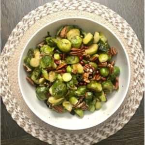 Bowl of brussel sprouts and wallnuts