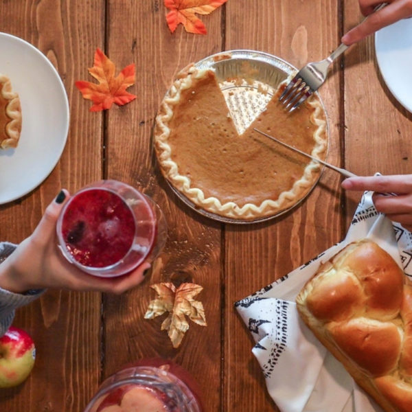 Thanksgiving pie and food on a table