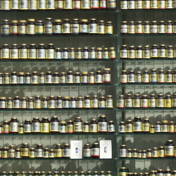 Rows of pills on the shelf