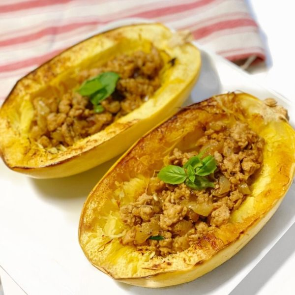 Squash with meat and veggies inside
